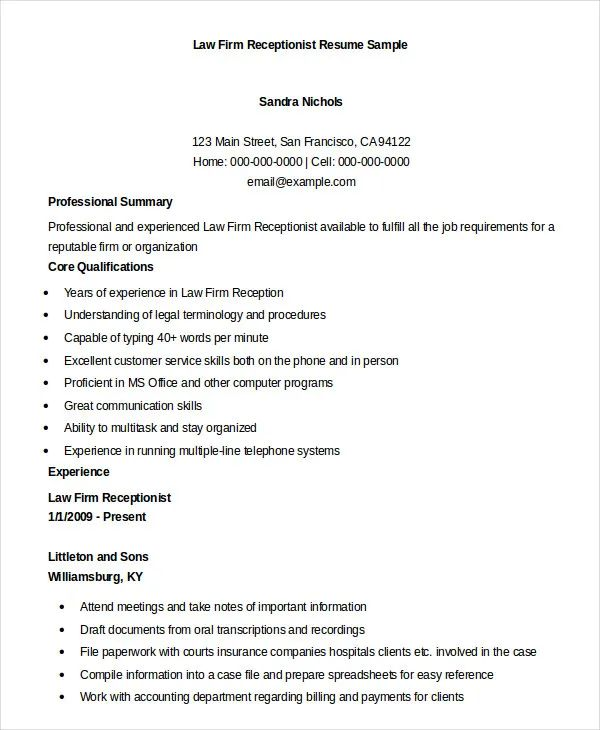 resume for receptionist law firm