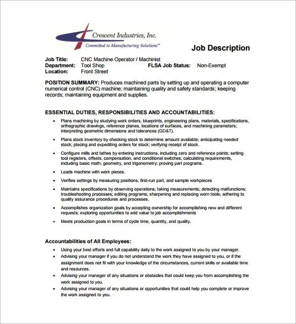 Machine Operator Job Description Template \u2013 10+ Free Word, PDF - machine operator job description
