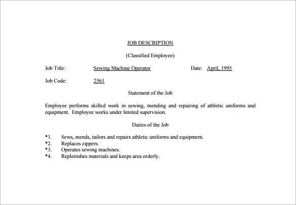 Machine Operator Job Description Template - 9+ Free Word, PDF Format