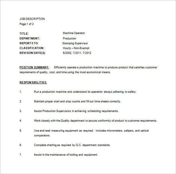 Job Description Sample Machine Operator – Machine Operator Job Description
