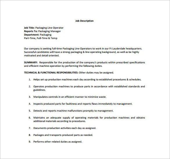 Machine Operator Job Description Template \u2013 10+ Free Word, PDF - machine operator job description