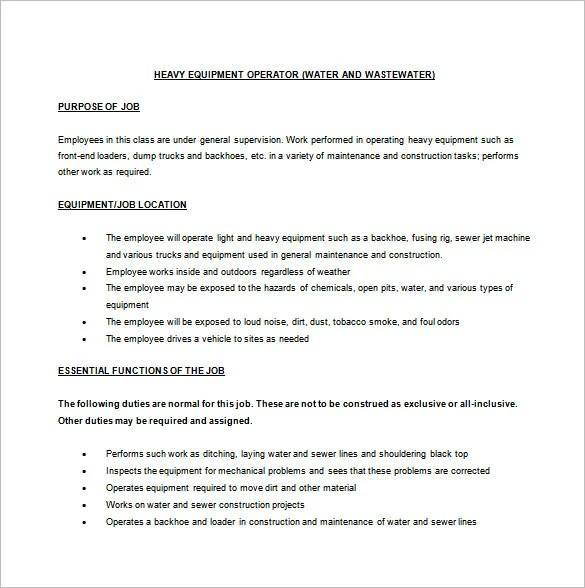 Machine Operator Job Description Template \u2013 10+ Free Word, PDF