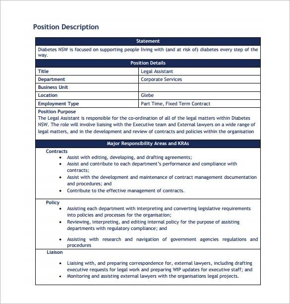 Legal Assistant Job Description Template - 11+ Free Word, PDF Format - executive editor job description