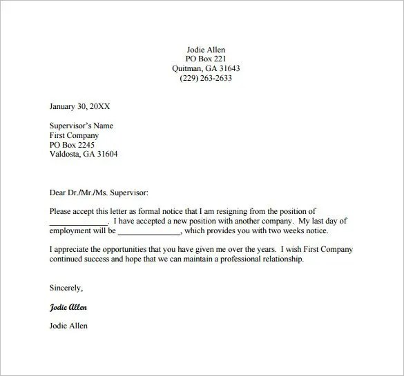Resignation Letter Templates - 18+ Free Sample, Example, Format - Example Letters Of Resignation