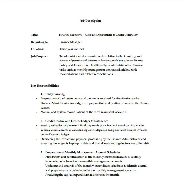 Financial Assistant Job Description Template - 9+ Free Word, PDF - Assistant Controller Job Description