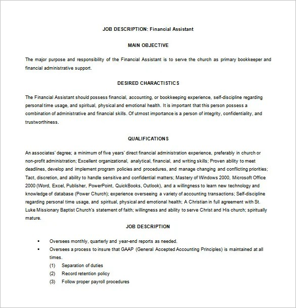Financial Assistant Job Description Template - 9+ Free Word, PDF