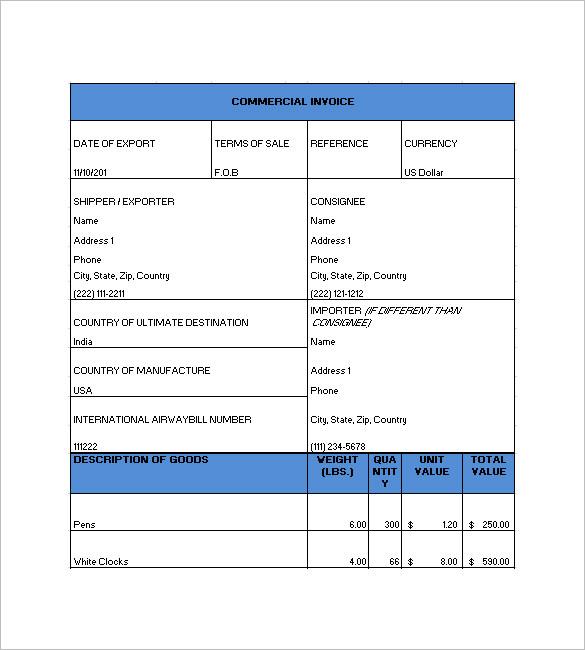 sample commercial invoice for import - Akbagreenw