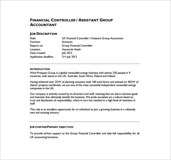 assistant controller job description