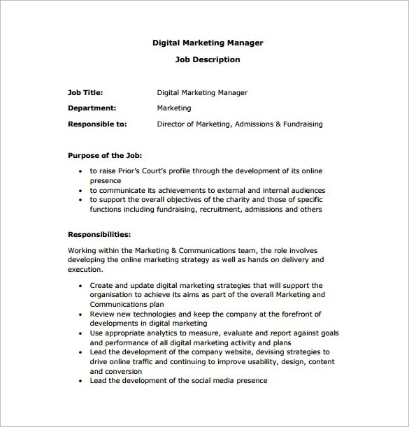 Marketing Manager Job Description Template - 10+ Free Word, PDF