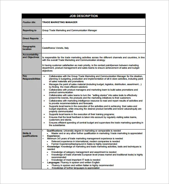 Marketing Manager Job Description Template - 9+ Free Word, PDF