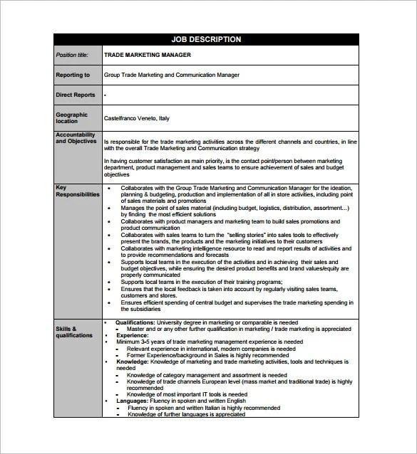 Marketing Manager Job Description Template - 10+ Free Word, PDF