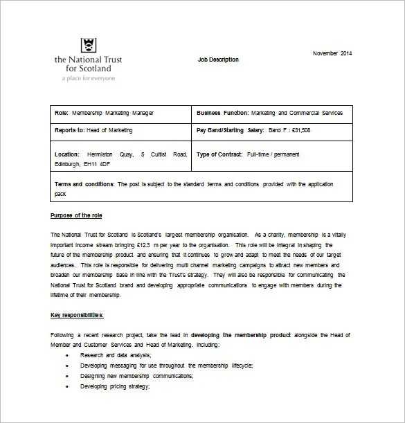 job description word template - Funfpandroid - job description template word