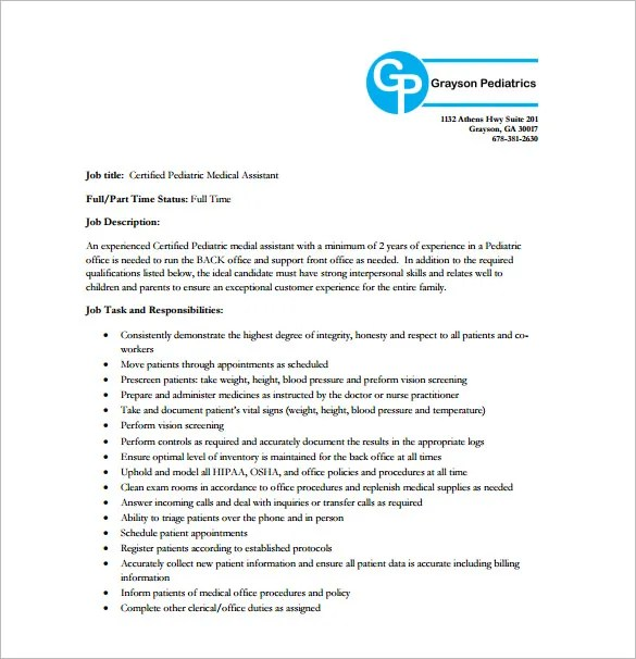 Pediatrician Job Description Templates - 6+ Free Sample, Example - Pediatrician Job Description