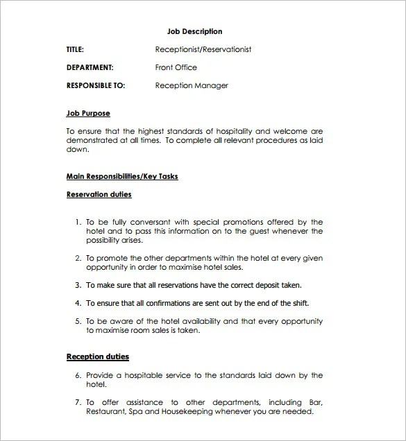 Receptionist Job Description Template \u2013 9+ Free Word, PDF Format - front office receptionist sample resume