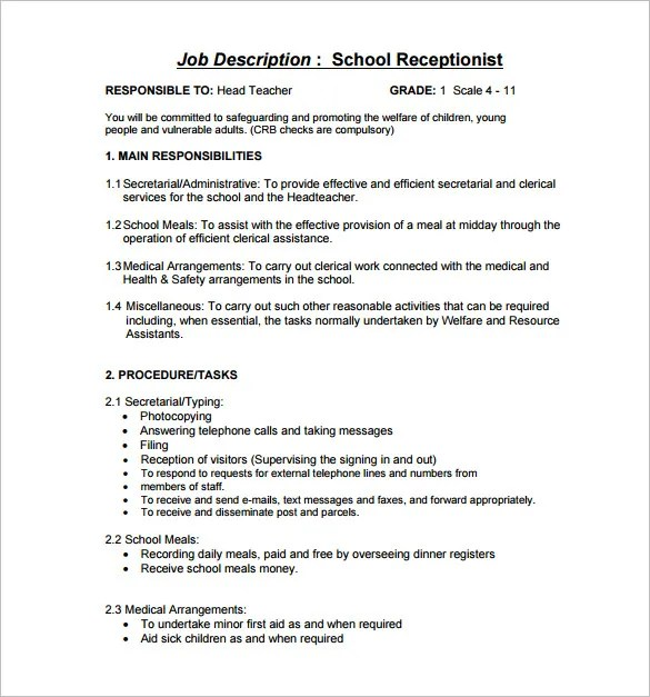 Medical Receptionist Job Description Click Here To Download This - medical secretary job description