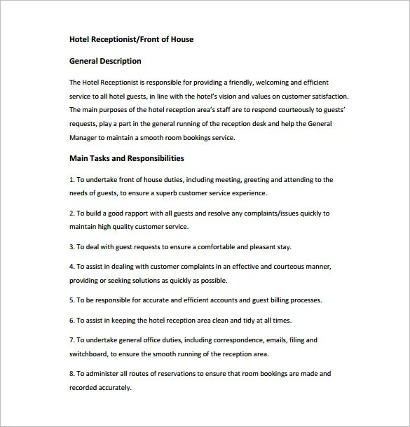 Receptionist Job Description Template \u2013 9+ Free Word, PDF Format