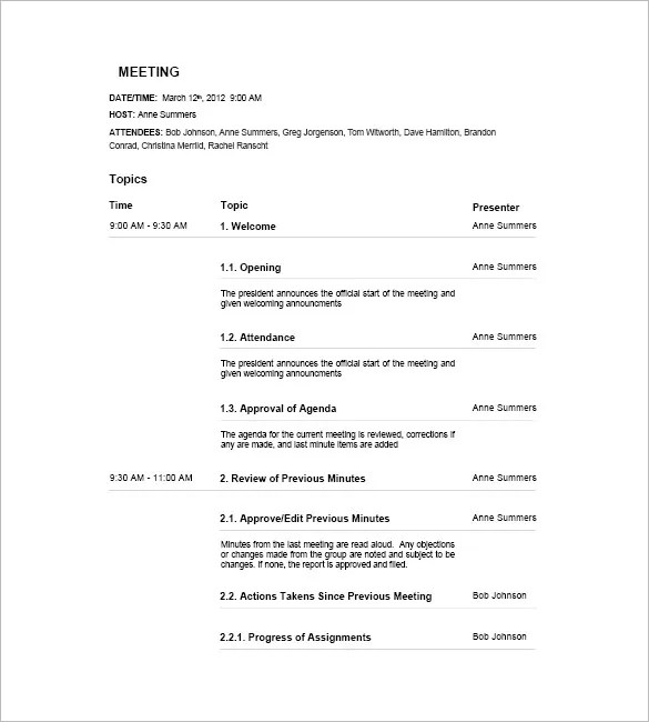 17+ Meeting Agenda Templates - Free Sample, Example, Format Free