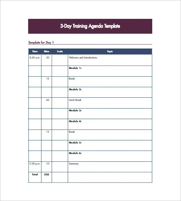 10+ Training Agenda Templates - Free Sample, Example, Format - sample training agenda