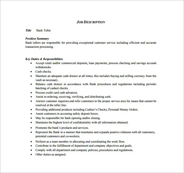 Cashier Job Description Template \u2013 9+ Free Word, PDF Format Download