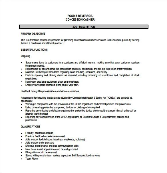 publix cashier job description for resume
