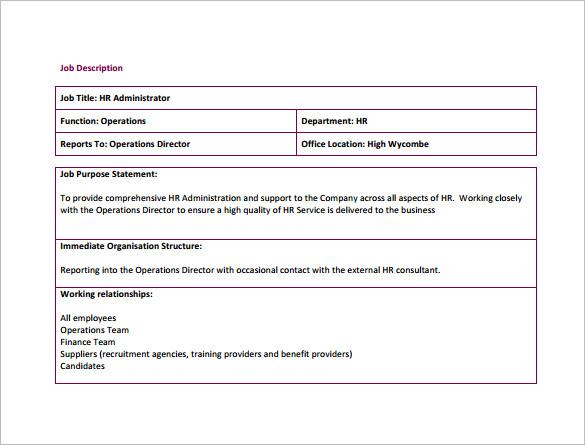 Human Resource Job Description Template \u2013 9+ Free Word, PDF Format