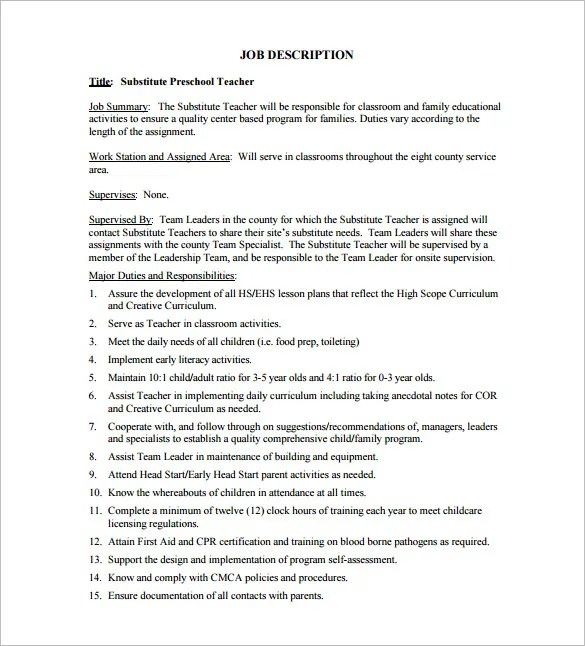 8+ Substitute Teacher Job Description Templates - Free Sample - substitute teacher resume job description
