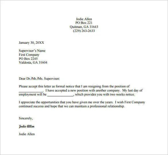 Email Resignation Letter Template - 19+ Free Sample, Example - free mail sample