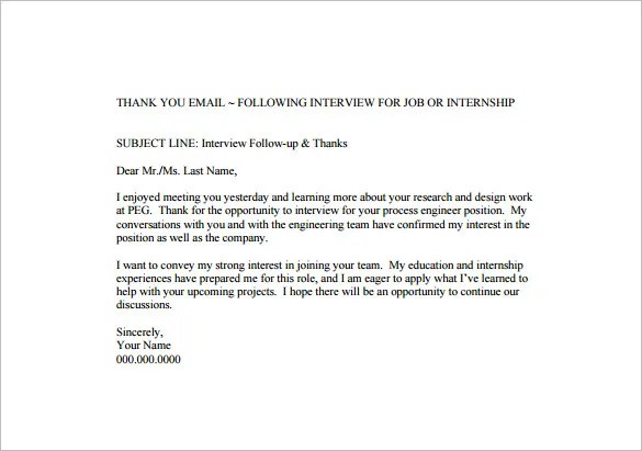 14+ Thank You Email After Interview - DOC, Excel, PDF Free - thank you email after interview template
