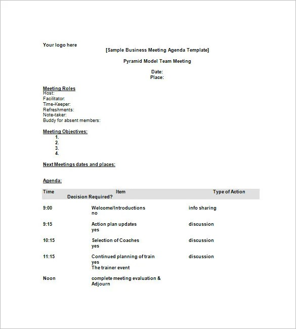 8+ Business Agenda Templates - Free Sample, Example, Format Download