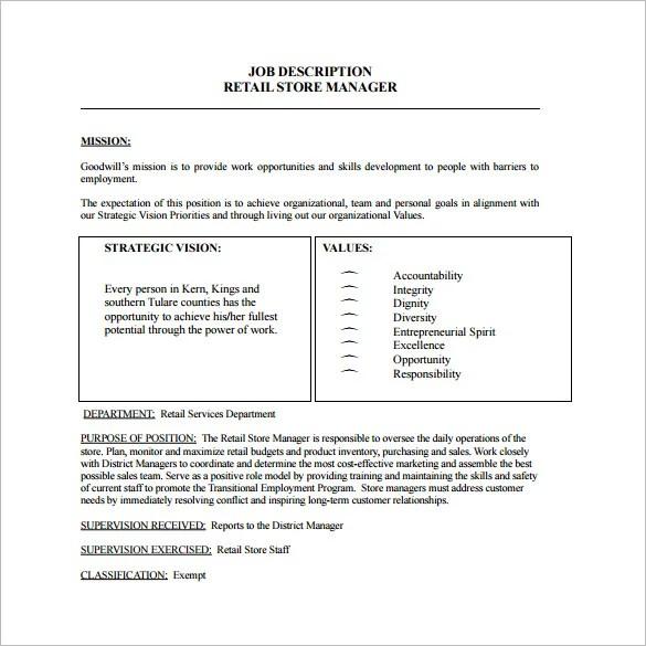Store Manager Job Description Template \u2013 8+ Free Word, PDF Format