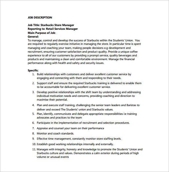Store Manager Job Description Template u2013 8+ Free Word, PDF Format - customer service manager job description