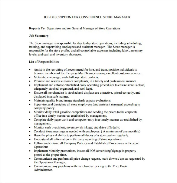 store manager job description template u2013 8 free word pdf format assistant director
