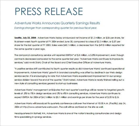 28+ Press Release Template - Word, Excel, PDF Free  Premium Templates