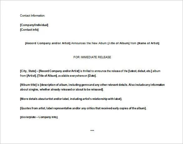Press Release Template u2013 29+ Free Word, Excel, PDF Format Download - press release template