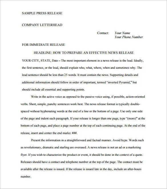 Press Release Template \u2013 29+ Free Word, Excel, PDF Format Download