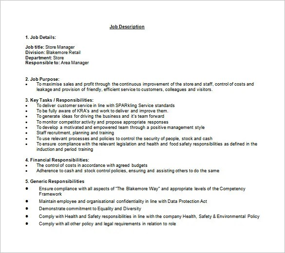 11+ Store Manager Job Description Templates \u2013 Free Sample, Example - Stock Job Description