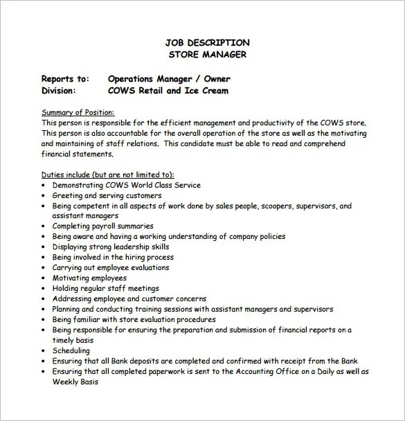 Store Manager Job Description Template \u2013 8+ Free Word, PDF Format