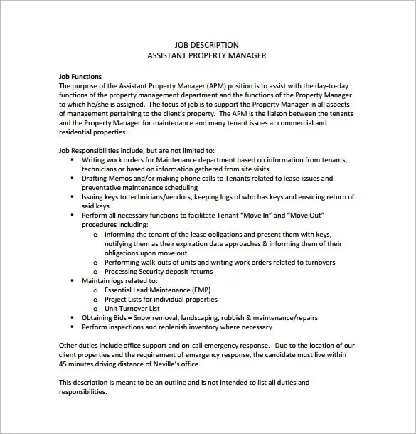 Property Manager Job Description Template \u2013 9+ Free Word, PDF Format - property manager job description