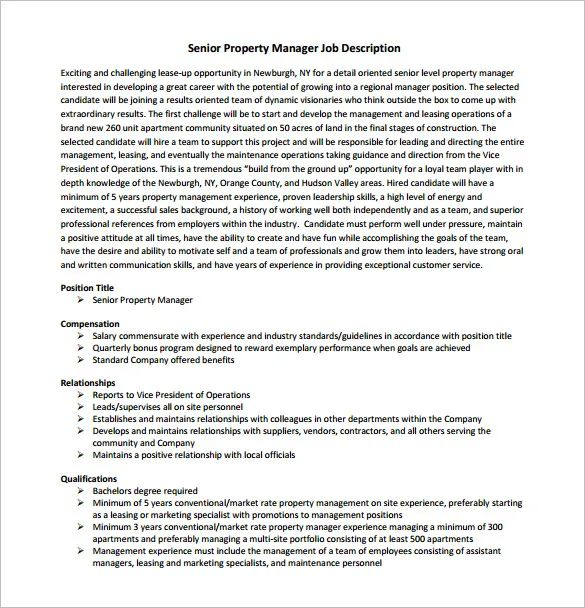 residential property manager job description
