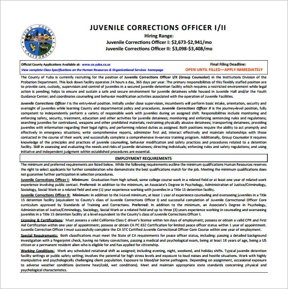 6+ Correction Officer Job Description Templates \u2013 Free Sample - cook county correctional officer sample resume