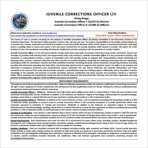Correction Officer Job Description Template \u2013 5+ Free Word, PDF