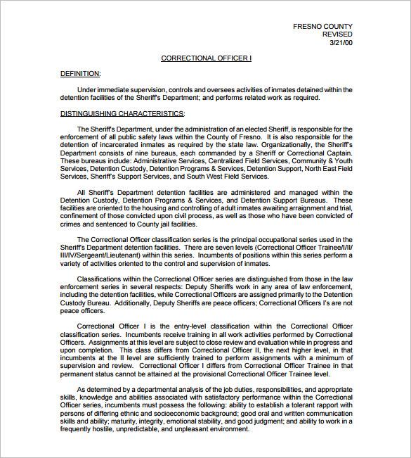 6+ Correction Officer Job Description Templates \u2013 Free Sample