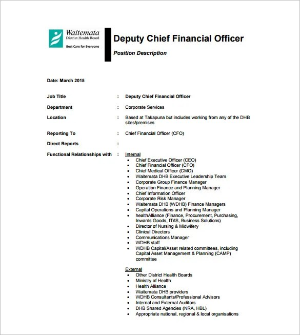 CFO Job Description Template u2013 10+ Free Word, PDF Format Download - chief executive officer job description