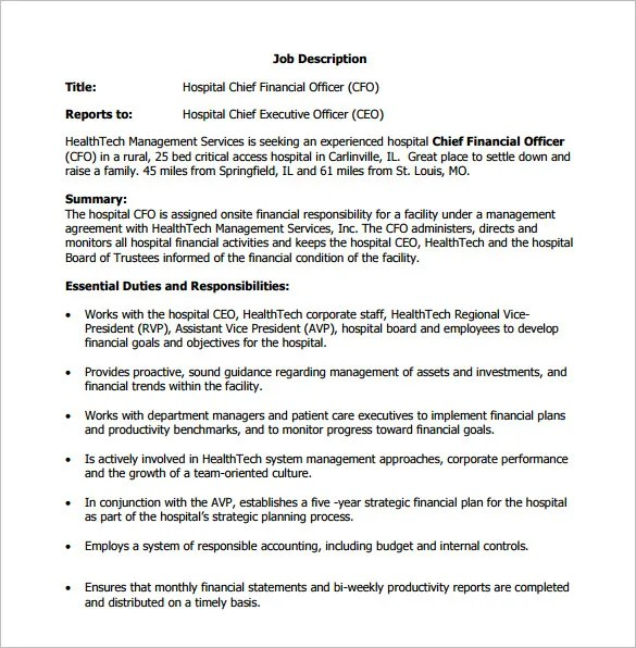 Ceo Job Description HospitalCeoJobDescription Sample Ceo Job