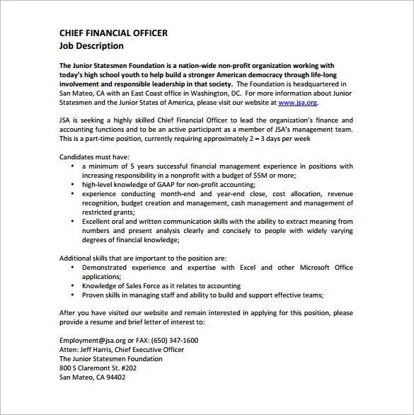 Chief Financial Officer Job Description Financial Cv Template - job description templates
