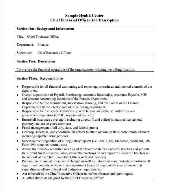 10+ Chief Financial Officer Job Description Templates \u2013 Free Sample - Fiscal Officer Sample Resume