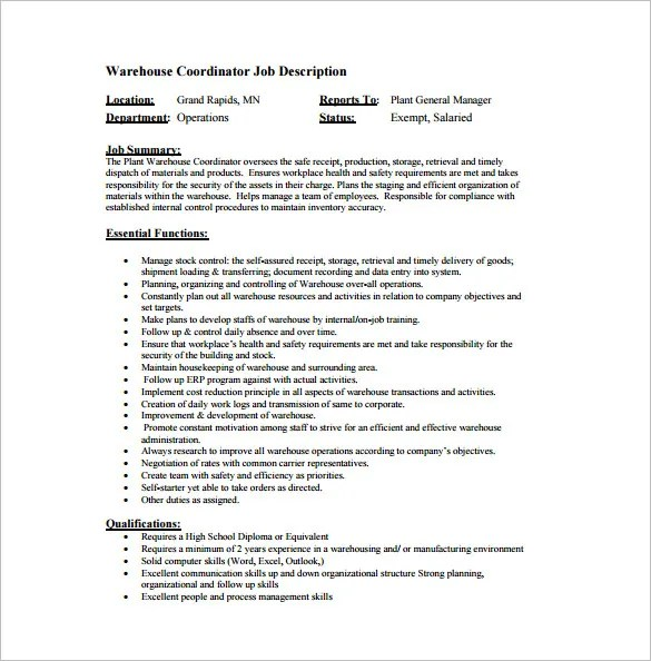 Warehouse Job Description B7 Consultancy- Electrical Supervisor - production supervisor job description