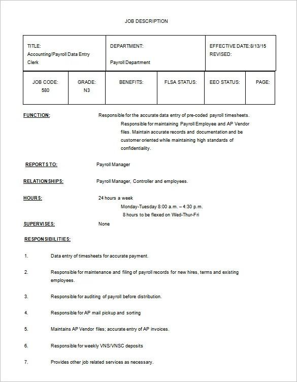 12+ Data Entry Job Description Templates \u2013 Free Sample, Example