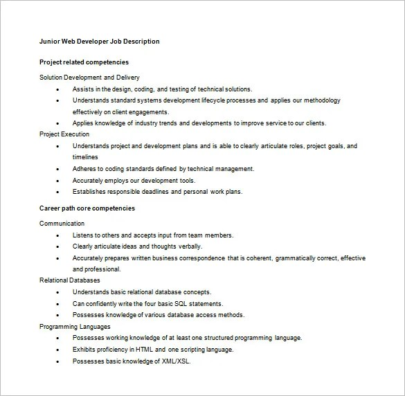 Web Developer Job Description Template \u2013 9+ Free Word, PDF Format
