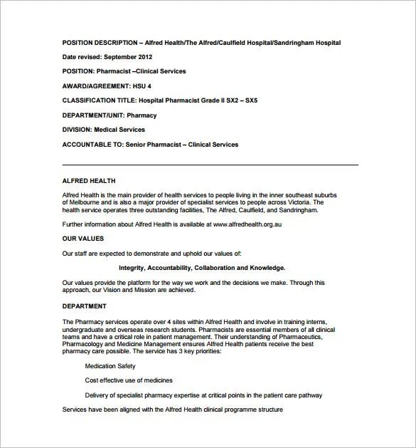 Pharmacist Job Description Template \u2013 10+ Free Word, PDF Format